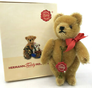 Hermann Miniature Yes No Teddy Bear Mohair Plush 1990s Swing Tag 13cm 5in Boxed