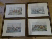 Set of Four Antique Hunting Prints of Engravings by Henry Thomas Alken(1785-1851