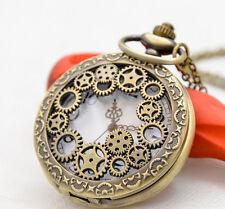 Antique Mechanical gear hollow bronze steampunk quartz pocket watch necklace.