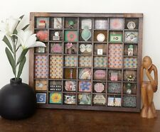Lovely Small Wooden Printers Tray Artwork with Decorative Theme and Curios