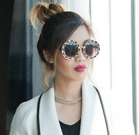 Round Women Sunglasses Oversized Black Gold Designer Retro Style Retro Mirror