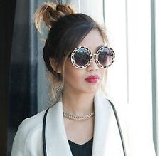 Round Women Sunglasses Oversized Black Gold Designer Retro Style
