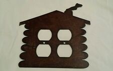 Log Cabin Rustic Metal Double Outlet Cover Decoration Lodge Wilderness