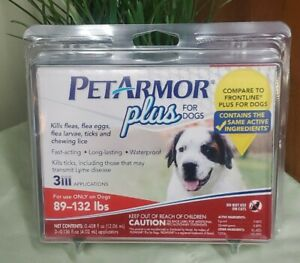 PetArmor Plus Flea & Tick Prevention for Large Dogs 89-132 lbs 3 Applications 🦮