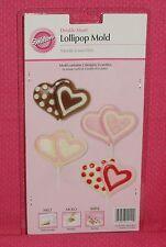 Heart,Double Large Chocolate Lollipop Mold,Wilton,Clear Plastic,2115-4440