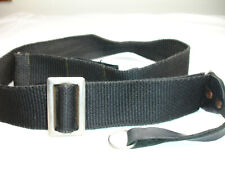 """Vintage CAMERA NECK STRAP, leather ends 1.5"""" wide, Black  with lug rings"""