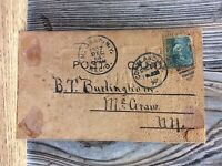 Antique Leather Post Card Early Postmarked 1907 1 Cent Stamp E37