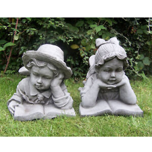 Boy and Girl Cherub Stone Effect Resin Ornament Statue Garden Decor Patio