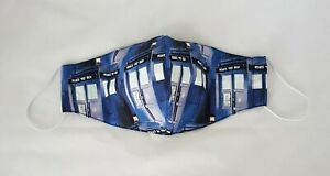Dr Who Blue Tardis 4 Layer Hand Made Cloth Face Mask Unisex Reversible Washable