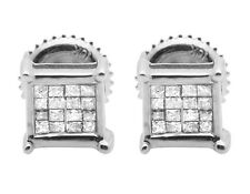 Ladies Men's 10K White Gold Genuine Princess Diamond Earring Studs 0.33CT 6MM