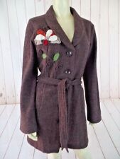 Cynthia Rowley Sweater Coat M Brown Unlined Felted Wool Floral Applique Boho