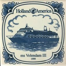 Holland America Line Vntg Ceramic Tile Coaster MS Volendam III Blue and Ivory