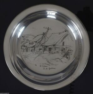A Y Jackson Houses St Urbain 1971 Limited Edition Sterling Silver Plate