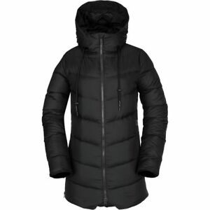 NWT WOMENS VOLCOM STRUCTURE DOWN INSULATED PUFFY JACKET $220 S black