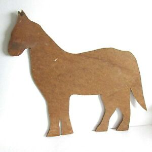 """Hand Cut Particle Board Horse Figure 4 Crafts Display Finish 13"""" tall FREE SH"""