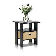 Furinno 11157EX/BR End Table Bedroom Night Stand with Bin Drawer, Espresso/Brown