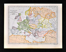 1892 Map Europe in 814 Death of Charles the Great France Islamic Spain Italy