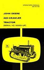John Deere 420 Crawler Tractor Operators Manual 100k-up