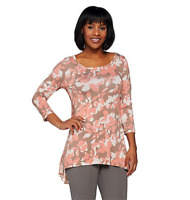 LOGO by Lori Goldstein Printed Knit Top with Hi-Low Hem and Chiffon - Coral/XS