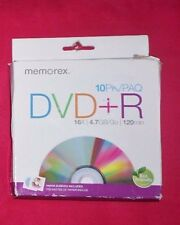 NEW Memorex 4.7GB/Go 16x DVD+R 10-Pack/PAQ 120 Min with paper sleeves