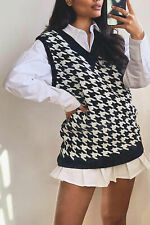New Women Ladies V Neck Knitted Dogtooth Houndstooth Monochrome Vest Top Gilet