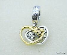 NWT AUTHENTIC PANDORA 2-TONE HEARTS AND BEES DANGLE CHARM  #768838C01 HINGE BOX