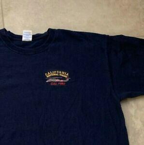 Mens Tshirt T Shirt XL California National Guard Cal Fire Embroidered Logo Blue
