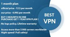 VPN service.1 month plan. Buy 3 month get 1 year! More than 5 000 servers.No log