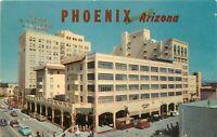 Chrome Postcard AZ I399 Phoenix Hotel Adams Valley National Bank 1960s Cars