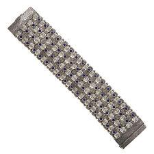 Savati ~ Sterling Silver Byzantine Large Bangle Bracelet with Lapis