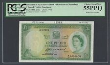 Rhodesia and Nyasaland One Pound 28-11-1960 P21bs Specimen About Uncirculated
