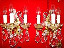 paire d'appliques bronze et cristal à 3 bougeoirs