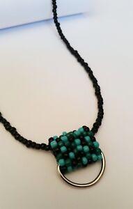 Black & Peyote Sea Colors Glass Name Tag ID Badge Holder HANDMADE Beaded Lanyard
