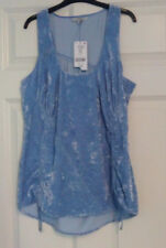 BNWT Next Ladies Blue Sleeveless Ruched Sides Long Top UK 12 RRP £36