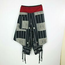 Harem Pants Made in Thailand Woven Texture Cotton Gray Black Red Tie Tight Shins