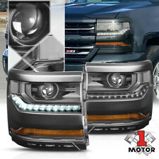Black LED DRL Projector Headlight Clear Signal for 15-18 Chevy Silverado 1500