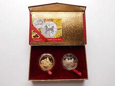 """Singapur / Singapore 2006 """"Jahr des Hundes"""", Luxus-Coin-Set, 2 Stück, PP #MÜ105"""