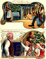 Lot of 2 ~Funny COMIC ~Antique 1908~ Christmas  Postcards-Children~s-981