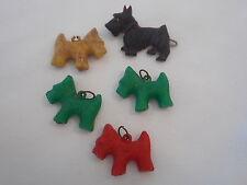 Five Vintage Plastic Scotty scottie dog dogs Hair Barrette Charms AH
