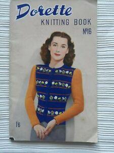 Dorette No. 16 Knitting Book Vintage 1940's Free P & P