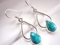 Turquoise Dewdrop Earrings 925 Sterling Silver Dangle Drop Hoop New