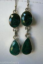 Hand crafted Green Seraphinite. Teardrop in Sterling Silver 925 Earrings