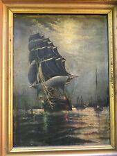 Antique Oil Painting Clipper Ship Marine Signed Stubbs 19th Century