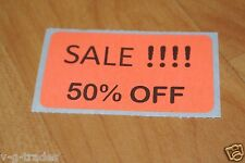 LOT 200 ORANGE SALE 50% OFF  Price Labels Stickers Tags Retail Store 2X1 INCH