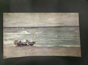 """James Abbott Whistler Beaching The Boat Etretat Engraved Print 8.5""""x5"""""""
