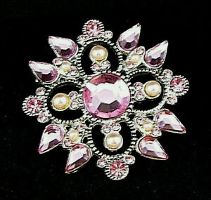 Pink Crystal Brooch Flower Pin Scarf Sweater Costume Lady Jewelry Fashion Bridal