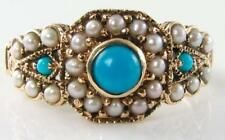 DIVINE  9CT 9K GOLD PERSIAN TURQUOISE & PEARL ART DECO INS RING FREE RESIZE