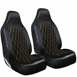 TOYOTA PRIUS - LUXURY BLACK QUILTED DIAMOND LEATHER CAR SEAT COVERS FRONT PAIR