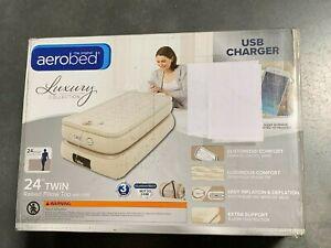 AeroBed Raised Pillowtop 24 Inch Twin Air Mattress with USB Output  | DMG BOX
