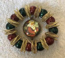 "Vintage Antique Santa Round Beaded Metal Christmas Ornament, German 3"""